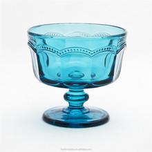 Hot sales cheap wine glasses ice cream cup blue half colour glass for use