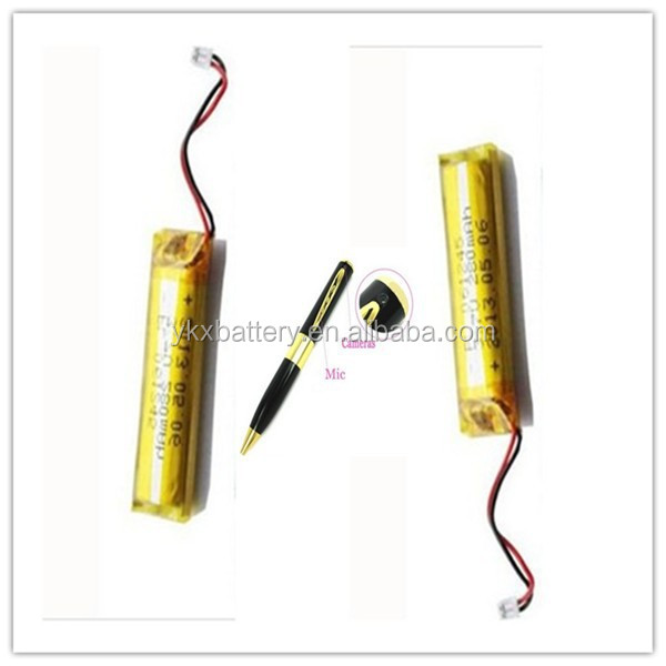 China Manufacturer Rechargeable Li ion lithium polymer 601245 lipo li-ion 3.7v 280mah battery for camera pen