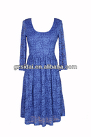 whole sales mix color mix size ladies lace casual dress with three quater sleeves