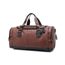 1DF0096 Wholesale Modern Design Sport travel bag Brown Large Capacity PU Leather Duffle Bag