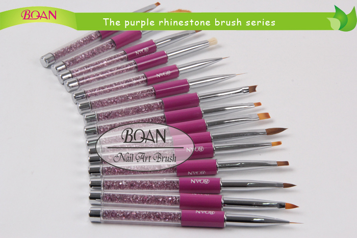 2015 Purple Diamond Decorated Nail Blooming Brush for Painting Nails