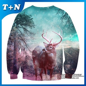 high quality fashion style custom 3d printing sweatshirt