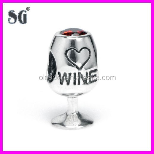 Manufacturer Wholesale 925 sterling silver wine cup charms fit for European charm bracelet