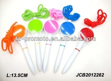 custom made plastic ball pen with strap