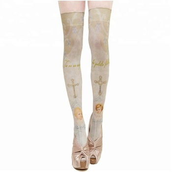 KaPin hot selling high quality 3d printing fashion ladies girls thigh high cotton over knee long socks for party