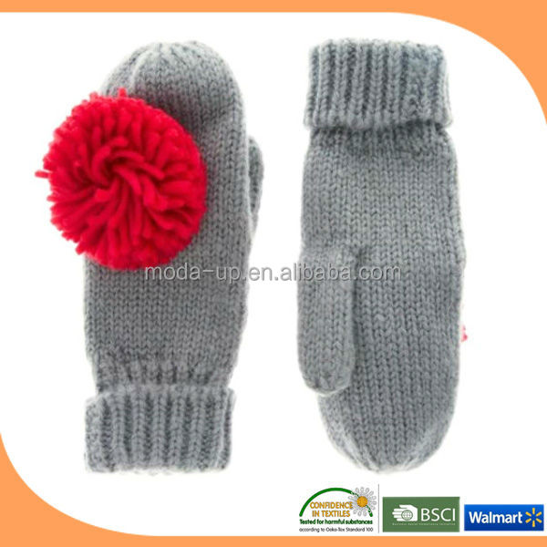 New product knitted glove with pompom wholesale on alibaba