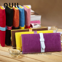 Candy color passport covers woman wallet and purse leather