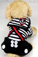 Summer Fashion Sailor Navy Striped Dog Pet Costumes Puppy Jumpsuit Jumper Clothes 5 Sizes XS/S/M/L/XL