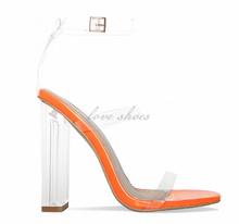 Orange Patent Multi Clear Strap Heels latest ladies sandals girl footwear design