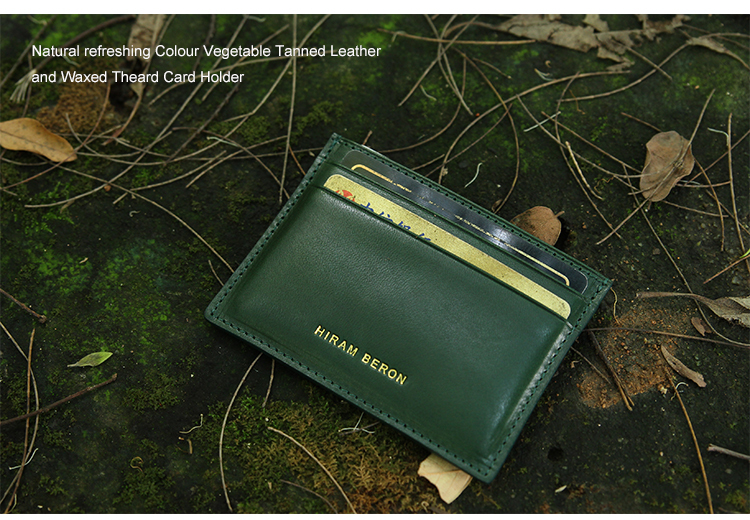 Italian vegetable tanned leather mens mini leather card holder wholesale