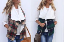 Plaid Vest with Fur