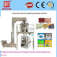 Shanghai automatic high quality popcorn/soybean/rice/fertilizer/seeds/peanut packing machine/packaging machine price