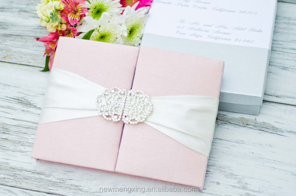 Wholesale Pink silk box wedding invitations buckle