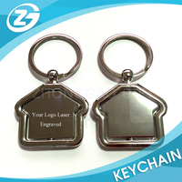 Promotional Gift Classic Home House Shape Zinc Alloy Rotating Logo Laser Engraving Metal Keychain Key Ring