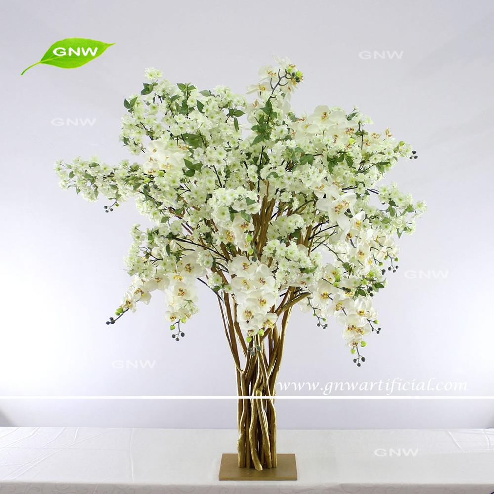 GNW Create Floral Tree Centrepieces Mini Cherry Blossom Wood Stand Tree For Wedding Table