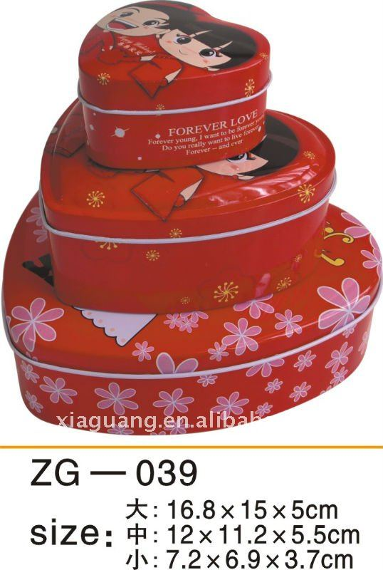 (Factory Direct Sale) Heart Shaped and Printed Candy Tin Box