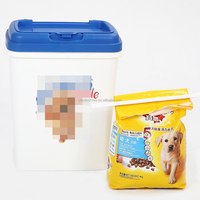 Wholesale large 40LT 15KG square airtight plastic pet dog food storage container with lid