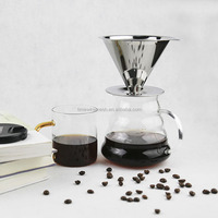 Custom double layered cone filter drip coffee maker with stand