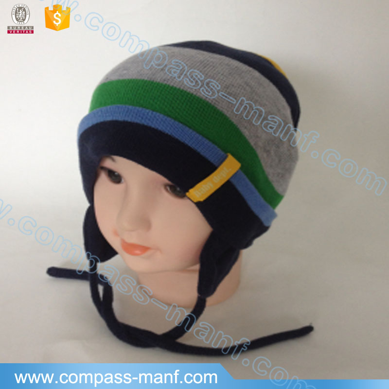 Newborn Baby Knitted Striped Ear flap Hat