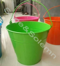 Decorative Powder Coated Metal Tin Pail / Metal Tin Bucket