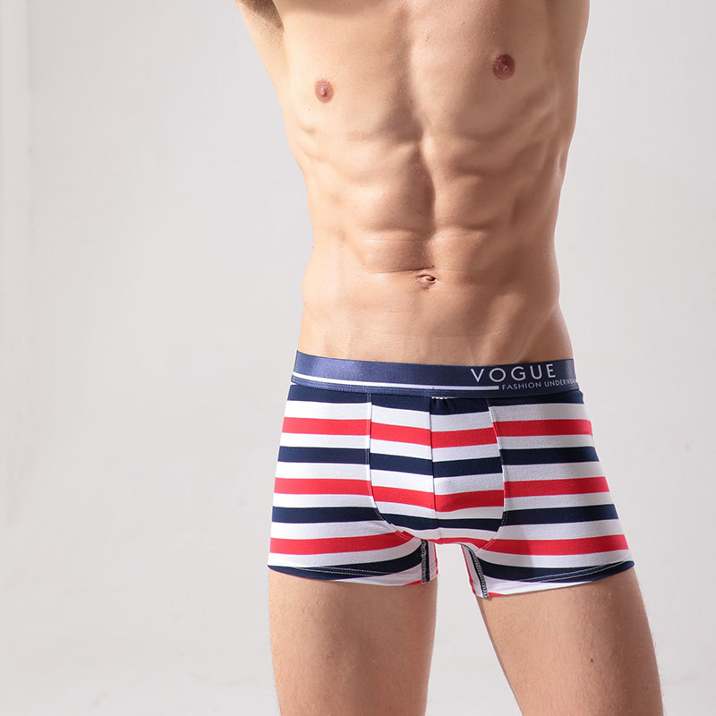 Popular design stripped soft 95 cotton 5 spandex boxer men underwear wohlesale