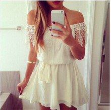 B30505A Europea summer hot style boat neck white lace backless fluffy dress