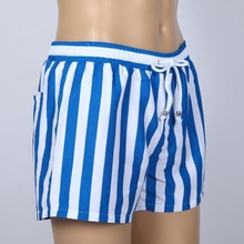 100% Polyester customized blue and white stripe custom print surfing board shorts for <strong>men</strong>