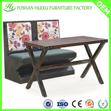 Flower pattern 2 seater durable restaurant sofa booth with table