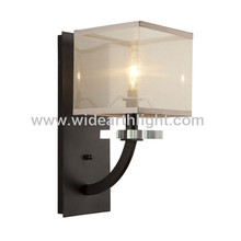 UL CUL Listed Hotel Square Organza Silk Shade Inside Wall Lamps In Black Finish W80312
