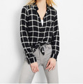 OEM fashionable new design white black checked plaid flannel shirt customize women