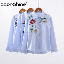 Women'S Shirt And 2018 Spring Embroidery New Blouse Fashion