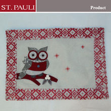 18 by 13inch owl design rectangular felt red grey polyester material xmas place mats embroidered christmas placemat for pot pan