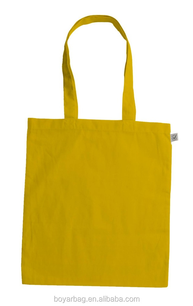 Yellow color shopping canvas handbag for women fabric gift bags