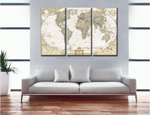 Quality 3 Panels Digital Prints Framed Canvas Wall Art Picture Classic Map Canvas Print Modern Wall Painting Top Home Decoration