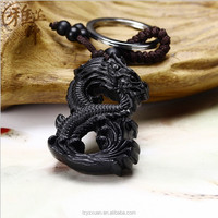 Quality Product Dragon Shape Personalized 3D Designed Wood Carved Key Chain On Sale