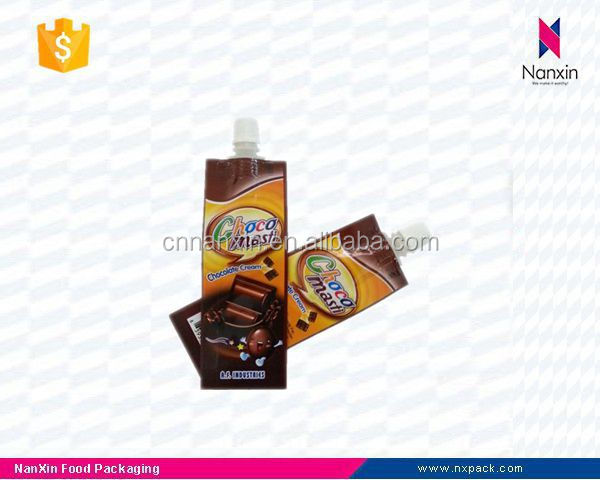 liquid chocolate tube shape spout pouch