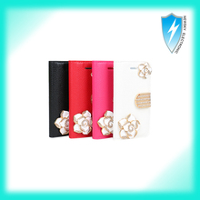 Flip Style Bling Diamond Good Leather Magnetic Case Cover For Iphone 5