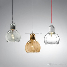 Hand Blown Glass Pendant Light Amber Smoky Clear Color Modern Glass Chandelier Crystal