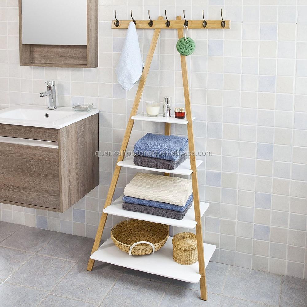 Bamboo Ladder Rack Wall Shelf Bathroom Shelf With Hook