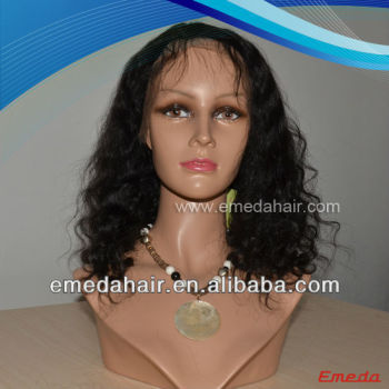 Very smooth natural color kinky curly long Brazilian hair lace front wig