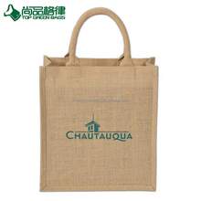 Promotional Recycle Grocery Bags Laminated Jute Burlap Tote Bag