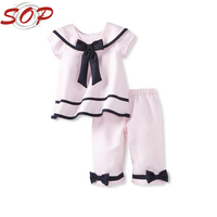 Top Sale Elegant Baby Girl Summer Clothes Lovely Top And Legging Little Baby Set With Bow