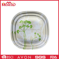 Luxury melamine dinner serving plate sets, plant modern square wholesale dishes for buffet