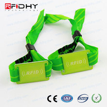 nylon and cotton materials custmized logo printing 13.56mhz rfid bracelet for Birthdays