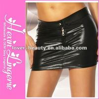 2012 Wholesale Black Lady Stretch Sexy Leather Skirt