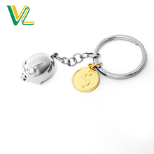 Customized high quality Zinc alloy pendent Coins Gold Round ring pendant Gift Key Chain for kids