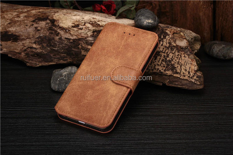 Manufacturer Wholesale Premium Pouch With Card Slots Magnet Folio Flip Genuine And PU Leather Wallet Case For Iphone 6 6S Plus