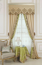 Interior Grandeur Classical French Provence Suburban Style Cream Color Whole Set Curtain and Valances BF11- 09273e