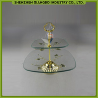 High quality 2 tier wedding cake stand crystal / clear glass cake stand