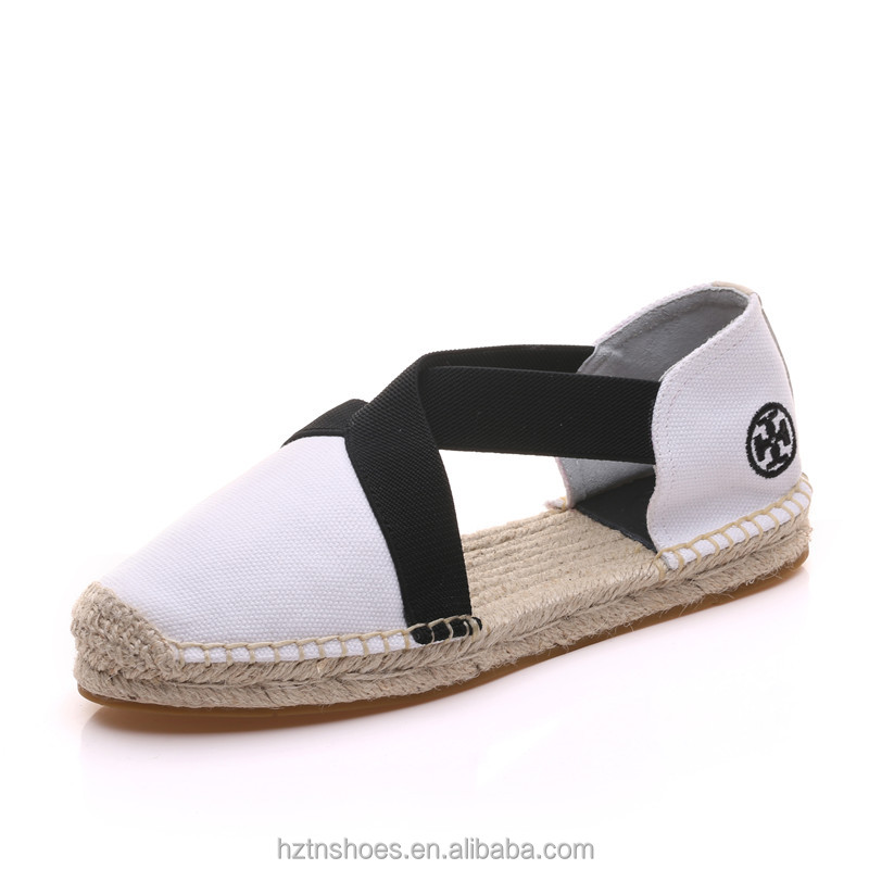 Women Shoes White Cloth Straw Weave Fisherman Shoes Intersect Elastic Band Design For Lady Espadrille